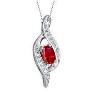 White Gold 14K Oval Shaped Ruby With Round Cut Dia